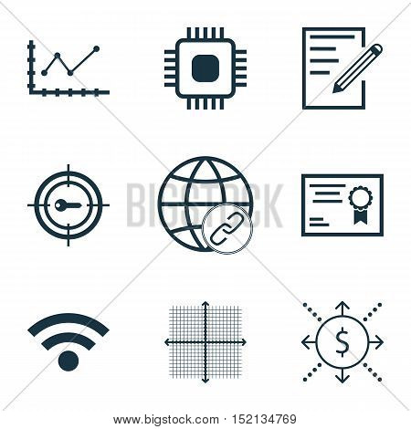 Set Of 9 Universal Editable Icons For Seo, Education And Statistics Topics. Includes Icons Such As K