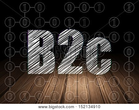 Business concept: Glowing text B2c in grunge dark room with Wooden Floor, black background with Scheme Of Binary Code