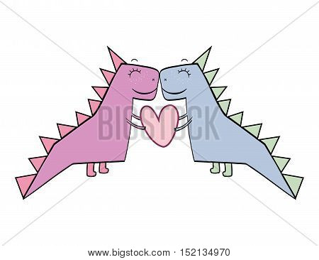 dino animal toy love couple with heart shape over white background. drawn design. vector illustration