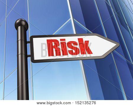 Finance concept: sign Risk on Building background, 3D rendering