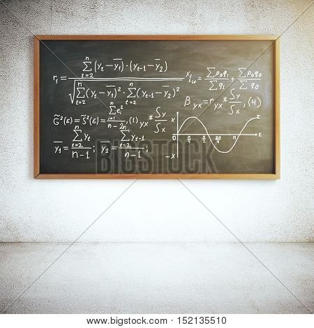 Chalkboard with mathematical formulas in concrete room. Education concept. 3D Rendering
