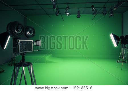 Modern green photo studio with old style movie camera and professional lighting equipment. 3D Rendering