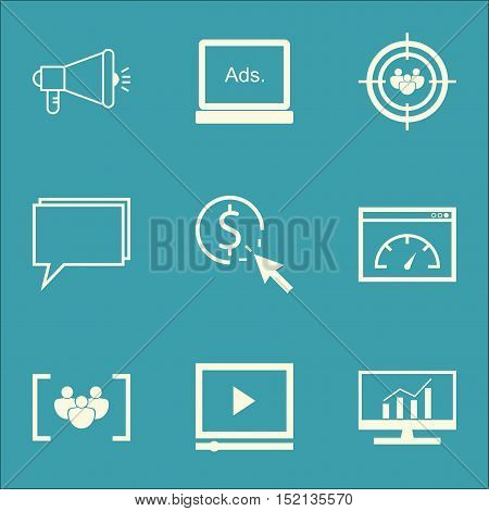 Set Of Advertising Icons On Loading Speed, Digital Media And Conference Topics. Editable Vector Illu