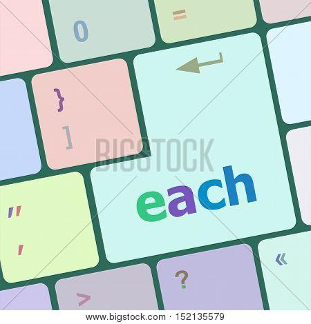 each word on computer keyboard keys button