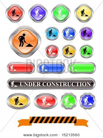 vector under construction web buttons