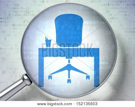 Business concept: magnifying optical glass with Office icon on digital background, 3D rendering