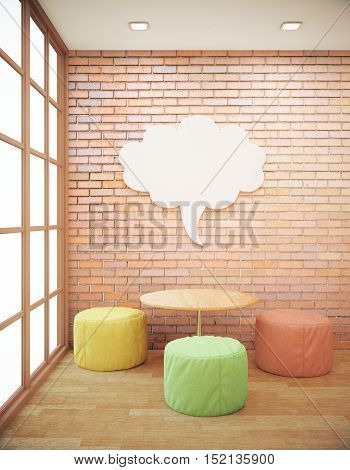 Red brick hipster interior with small coffee table seats and abstract thought cloud on wall. Side view Mock up 3D Rendering