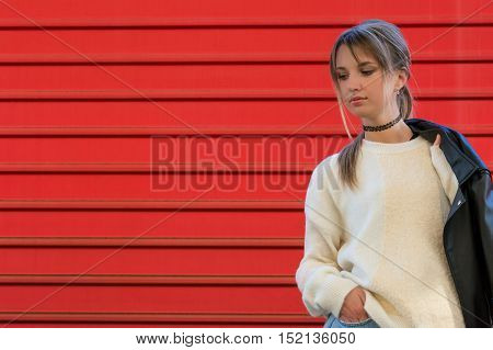 Fashion Girl Model Leather Jacket Warm Soft Sweater Clothing Abstract Lines Train Station Red Backgr
