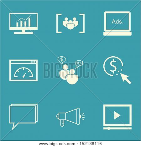 Set Of Marketing Icons On Conference, Video Player And Market Research Topics. Editable Vector Illus