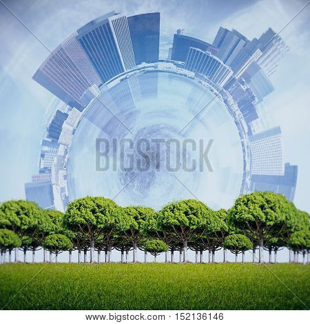 Green tress on abstract city background. Success concept