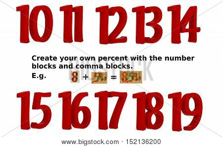 10 - 19 number set. Buy now just the Illustration rendering man with the comma percent und past them together to create your own illustration. E.g. 5 + ,5% = 5,5%