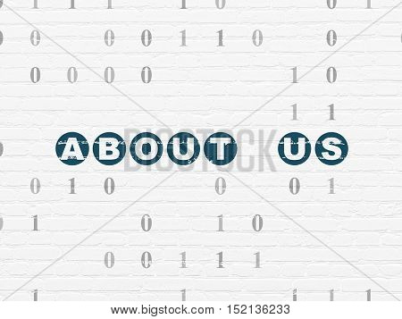 Finance concept: Painted blue text About us on White Brick wall background with Binary Code