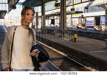Young Beautiful Blonde Girl Waiting Train Station Arrival Travel Rails Interior Public