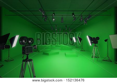Modern green photo studio with old style movie camera and professional lighting equipment. Front view 3D Rendering