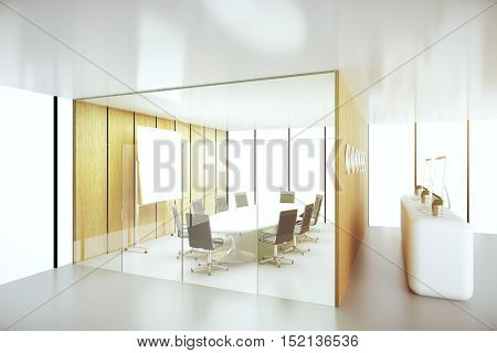 Side view of abstract conference room with reception. 3D Rendering