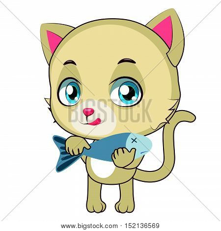 Yellow cat eager to eat delicious fish