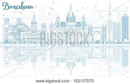 Outline Barcelona Skyline with Blue Buildings and Reflections. Vector Illustration. Business Travel and Tourism Concept with Historic Buildings. Image for Presentation Banner Placard and Web Site.