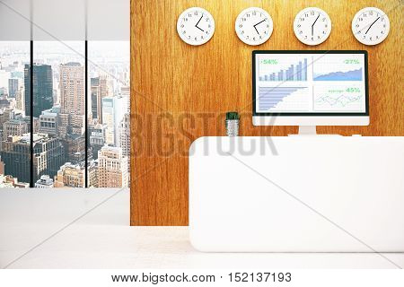 Modern reception desk with business chart on computer screen and city view. 3D Rendering