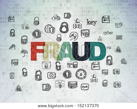 Security concept: Painted multicolor text Fraud on Digital Data Paper background with  Hand Drawn Security Icons