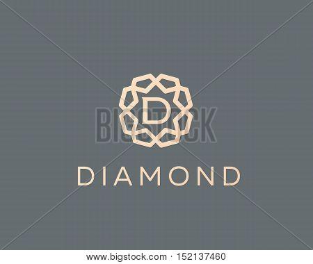 Premium letter D logo icon vector design. Luxury jewelry frame gem edge logotype. Print monogram initials stamp sign symbol