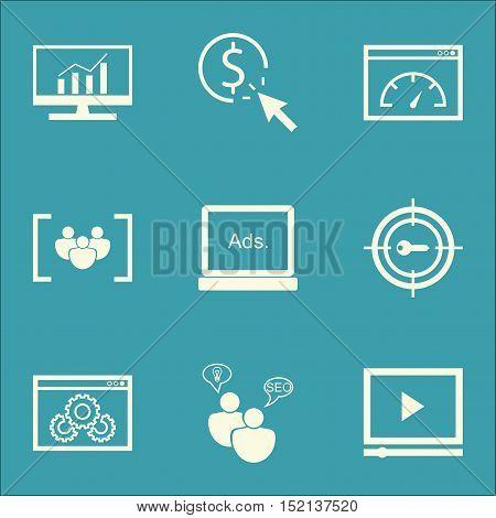 Set Of Marketing Icons On Seo Brainstorm, Digital Media And Ppc Topics. Editable Vector Illustration