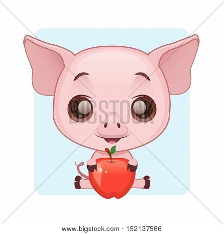 Cute little pig holding a shiny red apple