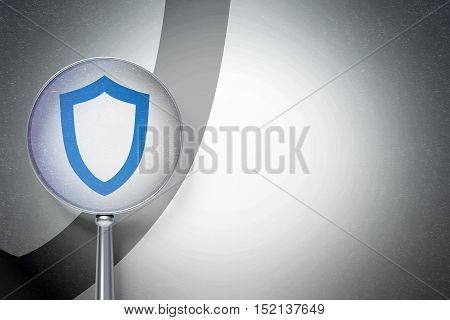 Safety concept: magnifying optical glass with Contoured Shield icon on digital background, empty copyspace for card, text, advertising, 3D rendering