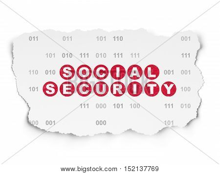 Privacy concept: Painted red text Social Security on Torn Paper background with  Binary Code