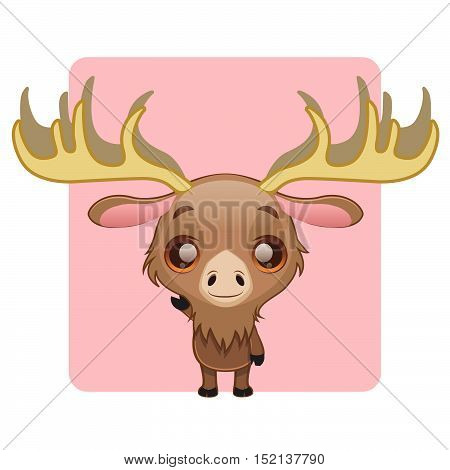Cute moose illustration art with simple background