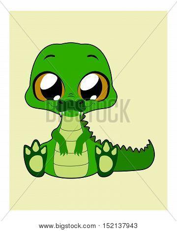 Cute crocodile illustration art with simple background