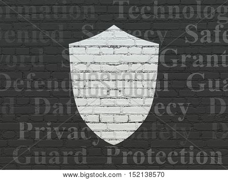 Protection concept: Painted white Shield icon on Black Brick wall background with  Tag Cloud