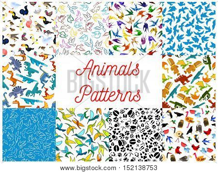 Animals and birds seamless patterns set with dinosaur, dove, owl, hummingbird, swallow, eagle, parrot, flamingo, swan and animal tracks