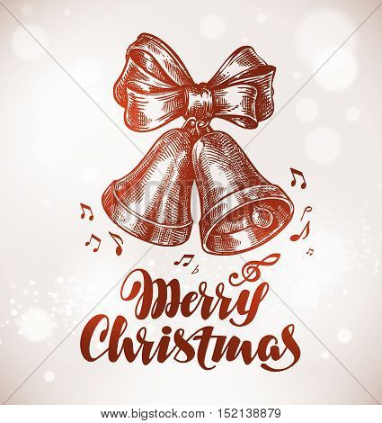 Merry Christmas. Xmas bells with bow. Vector illustration
