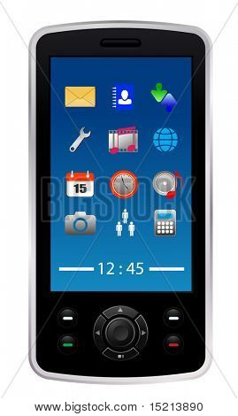 vector mobile phone with icons