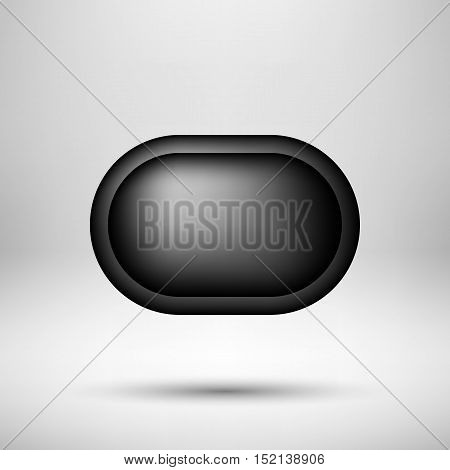 Black abstract premium bubble badge, luxury button template with reflex, realistic shadow and light background for logo, design concepts, banners, web, posters, prints. Vector illustration.