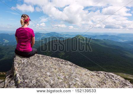 alone tourist in high mountain