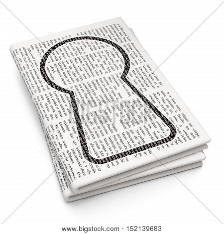 Protection concept: Pixelated black Keyhole icon on Newspaper background, 3D rendering