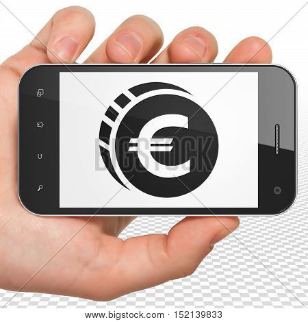 Banking concept: Hand Holding Smartphone with black Euro Coin icon on display, 3D rendering