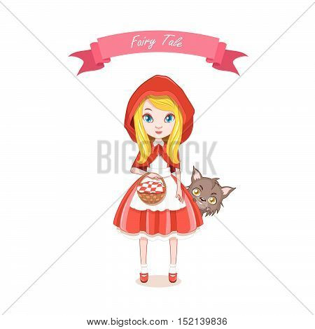 Illustration of red riding hood girl with wolf