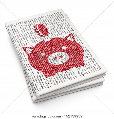 Money concept: Pixelated red Money Box With Coin icon on Newspaper background, 3D rendering