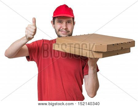 Pizza Delivery Concept. Young Boy Is Delivering Pizza In Boxes.
