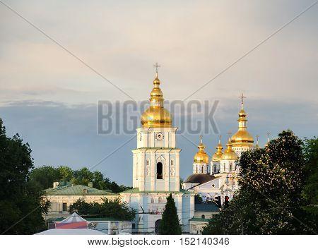 Saint Sophia Cathedral in flowering chestnuts on Easter in Kiev Ukraine.