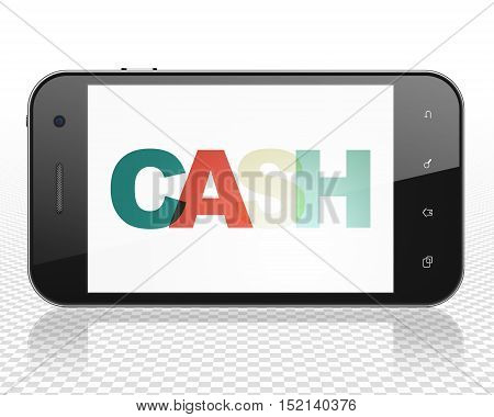 Money concept: Smartphone with Painted multicolor text Cash on display, 3D rendering