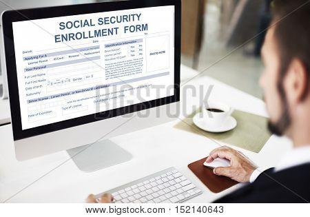 Social Security Enrollment Form Concept