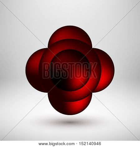 Red abstract premium bubble badge, luxury button template with reflex, realistic shadow and light background for logo, design concepts, banners, web, posters, prints. Vector illustration.