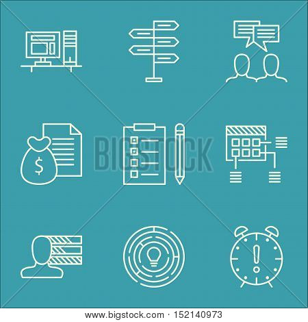 Set Of Project Management Icons On Opportunity, Time Management And Report Topics. Editable Vector I