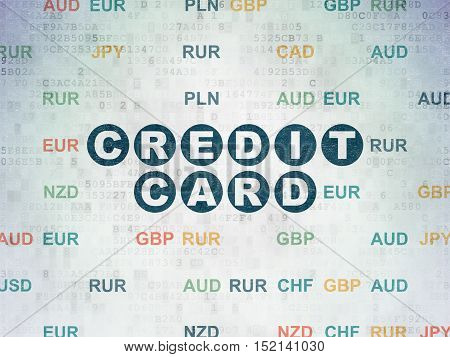 Currency concept: Painted blue text Credit Card on Digital Data Paper background with Currency