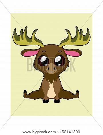 Cute moose illustration art in flat color
