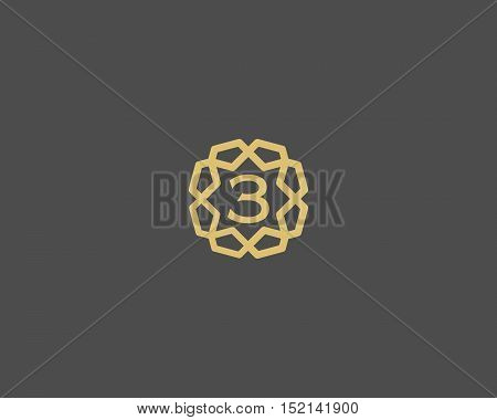 Premium number 3 logo icon vector design. Luxury jewelry frame gem edge logotype. Print figure stamp sign symbol