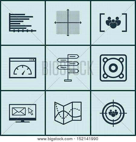 Set Of 9 Universal Editable Icons For Seo, Advertising And Computer Hardware Topics. Includes Icons